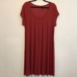 GAP Burnt Orange Ribbed T-Shirt Dress